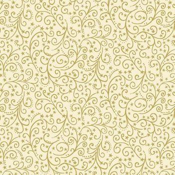 Makower Christmas Twelve Day Metallic Scroll Cream Cotton Fabric