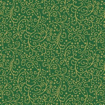Makower Christmas Twelve Days Metallic Scroll Green Cotton Fabric