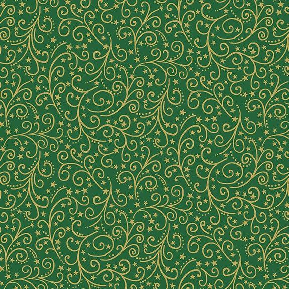 Makower Christmas Twelve Days Metallic Scroll Green Cotton Fabric