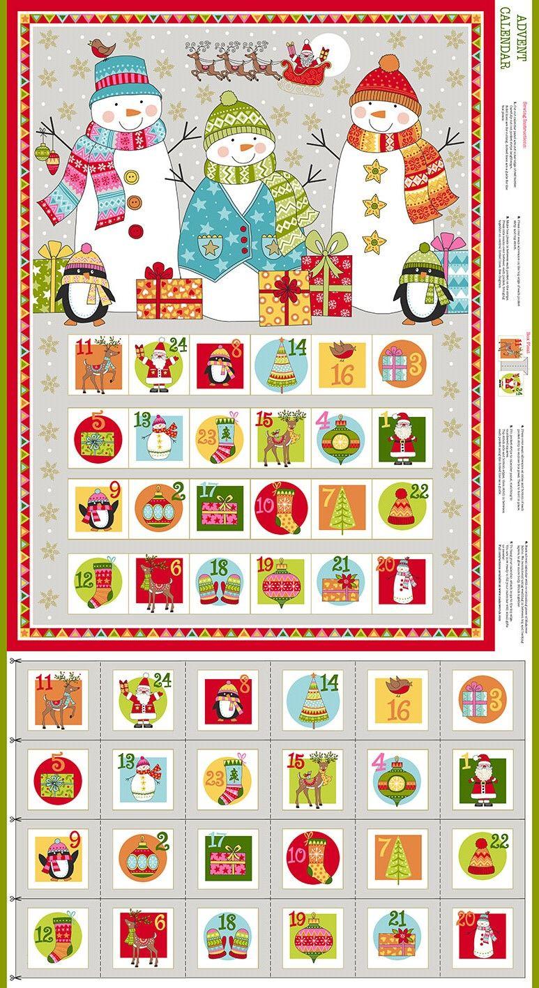 Makower Festive Christmas Advent Calendar Panel
