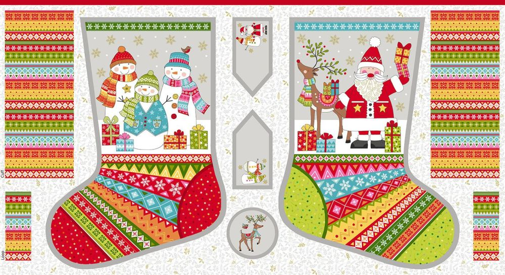 Makower Festive Christmas Stocking Panel