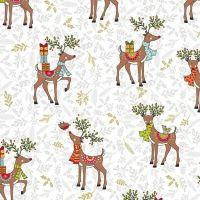 Makower Festive Christmas Reindeer Cotton Fabric