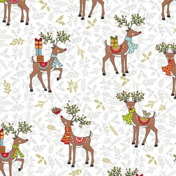 Makower Festive Christmas Reindeer Cotton Fabric