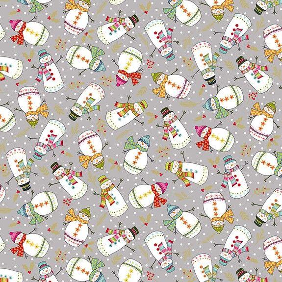 Makower Festive Christmas Snowman Cotton Fabric