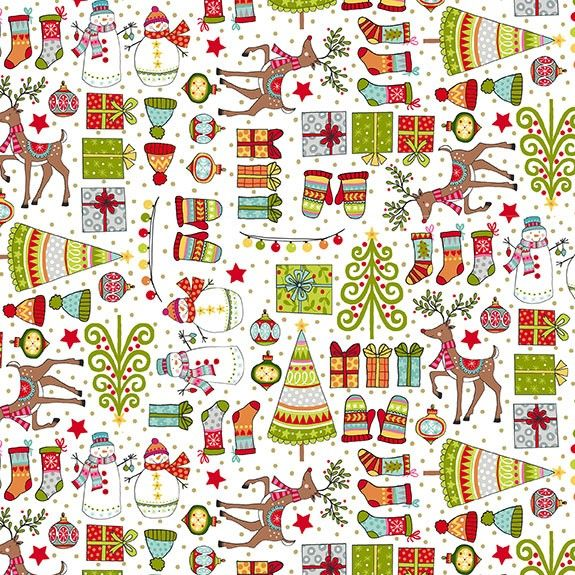 Makower Festive Christmas Mini Icon Cotton Fabric