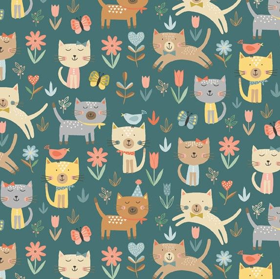 Makower Cool Cats Jumping Cotton Fabric
