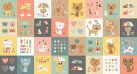 Makower Cool Cats Blocks Cotton Fabric