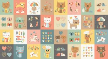 Makower Cool Cats Blocks Cotton Fabric