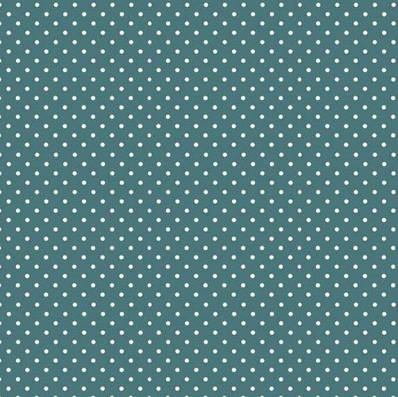 Makower Cool Cats Polka Dot Dark Teal Cotton Fabric