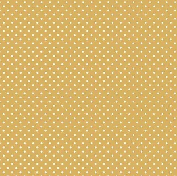 Makower Cool Cats Polka Dot Mustard Cotton Fabric