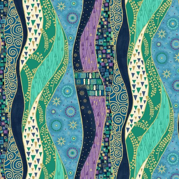 Makower Rhapsody Waves Purple Cotton Fabric