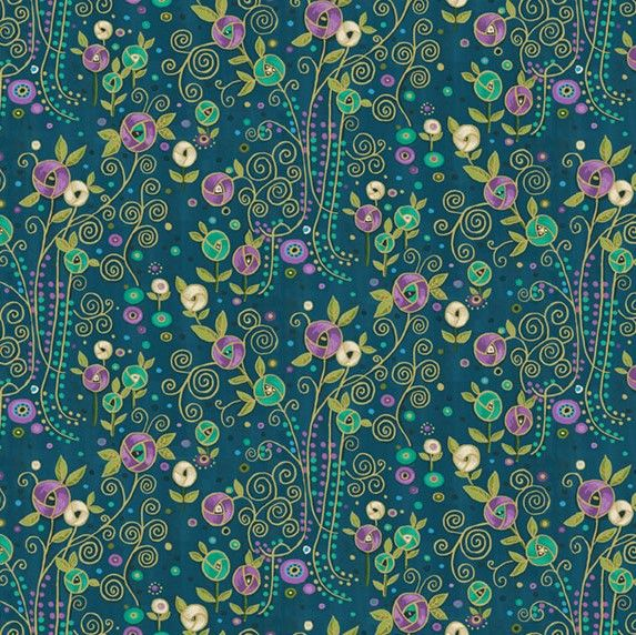 Makower Rhapsody Flowers Purple Cotton Fabric