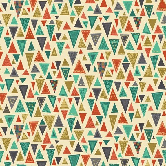 Makower Rhapsody Triangles Orange Cotton Fabric