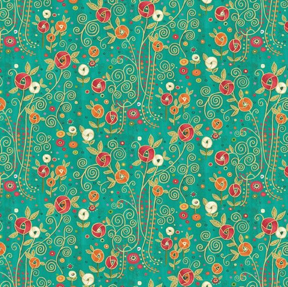 Makower Rhapsody Flowers Teal Cotton Fabric