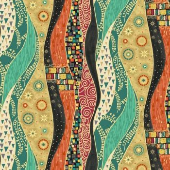 Makower Rhapsody Waves Orange Cotton Fabric