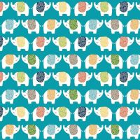 Makower Jungle Elephants Cotton Fabric