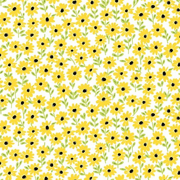 Makower Sunny Bee Daisies Cotton Fabric