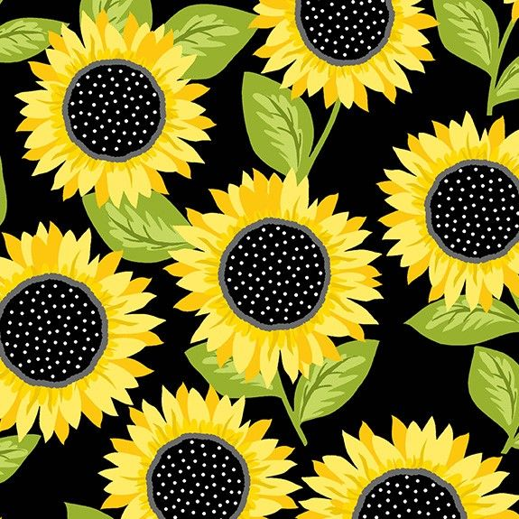 Makower Sunny Bee Sunflower Black Cotton Fabric