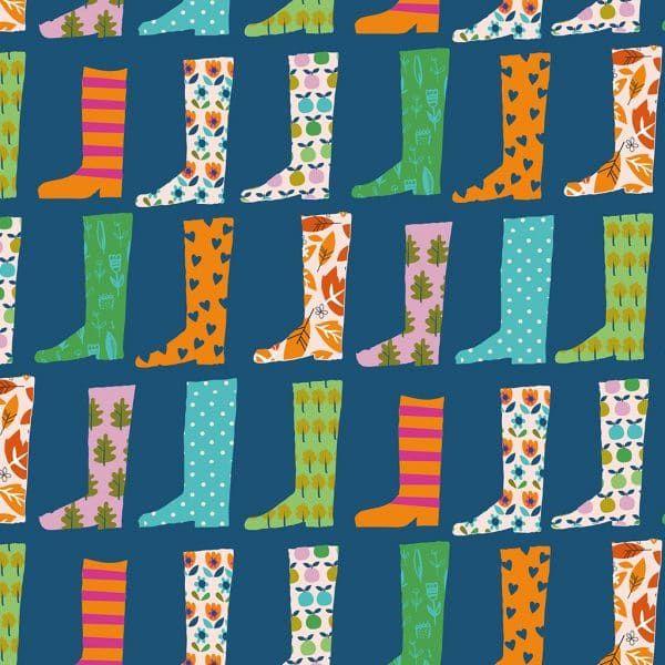 Dashwood Studio Walk In The Woods Wellies Cotton Fabric