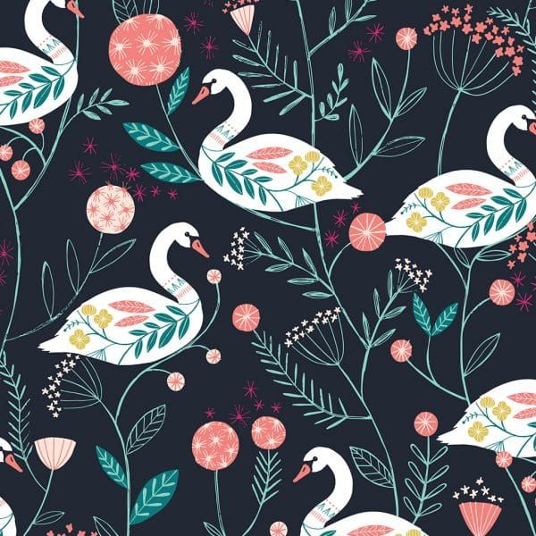 Dashwood Studio Rivelin Valley Swans Cotton Fabric