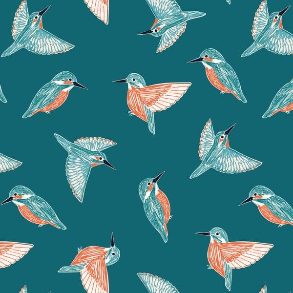 Dashwood Studio Rivelin Valley Kingfisher Cotton Fabric