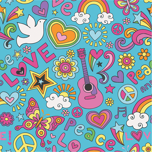 Neon Peace Love Cotton Jersey Fabric