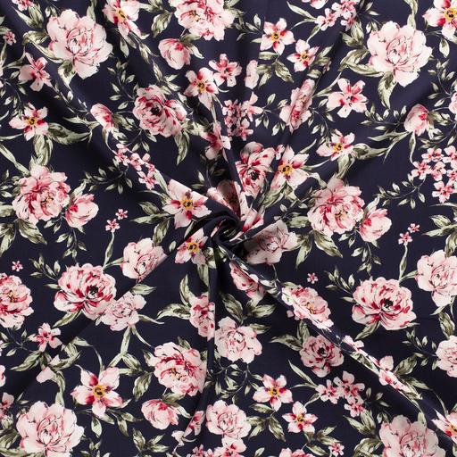 Flowers on Navy Viscose Fabric