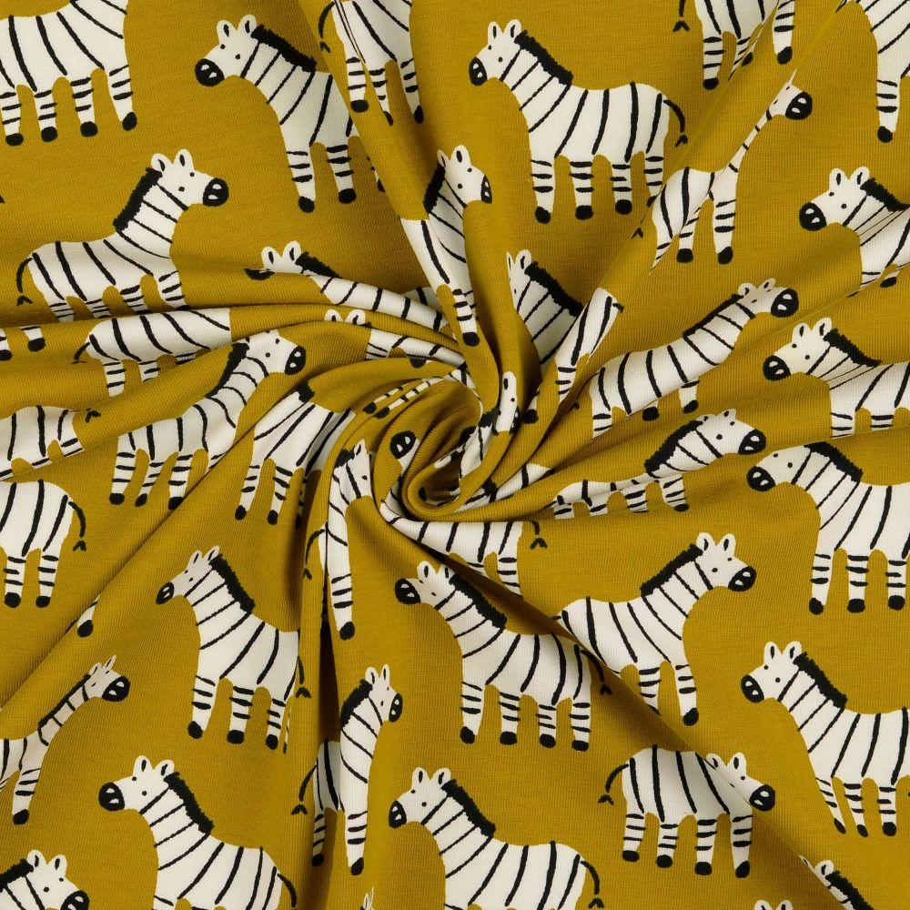 Zebra  Mustard Organic Cotton Jersey Fabric