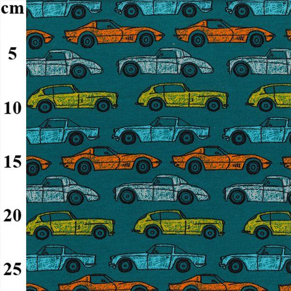 Sweatshirt Cars On Teal Jersey Fabric