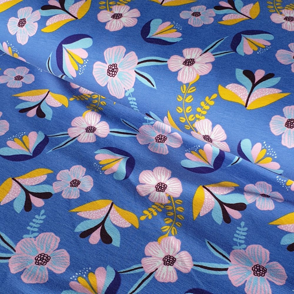 Blue Floral Organic Cotton Jersey Fabric