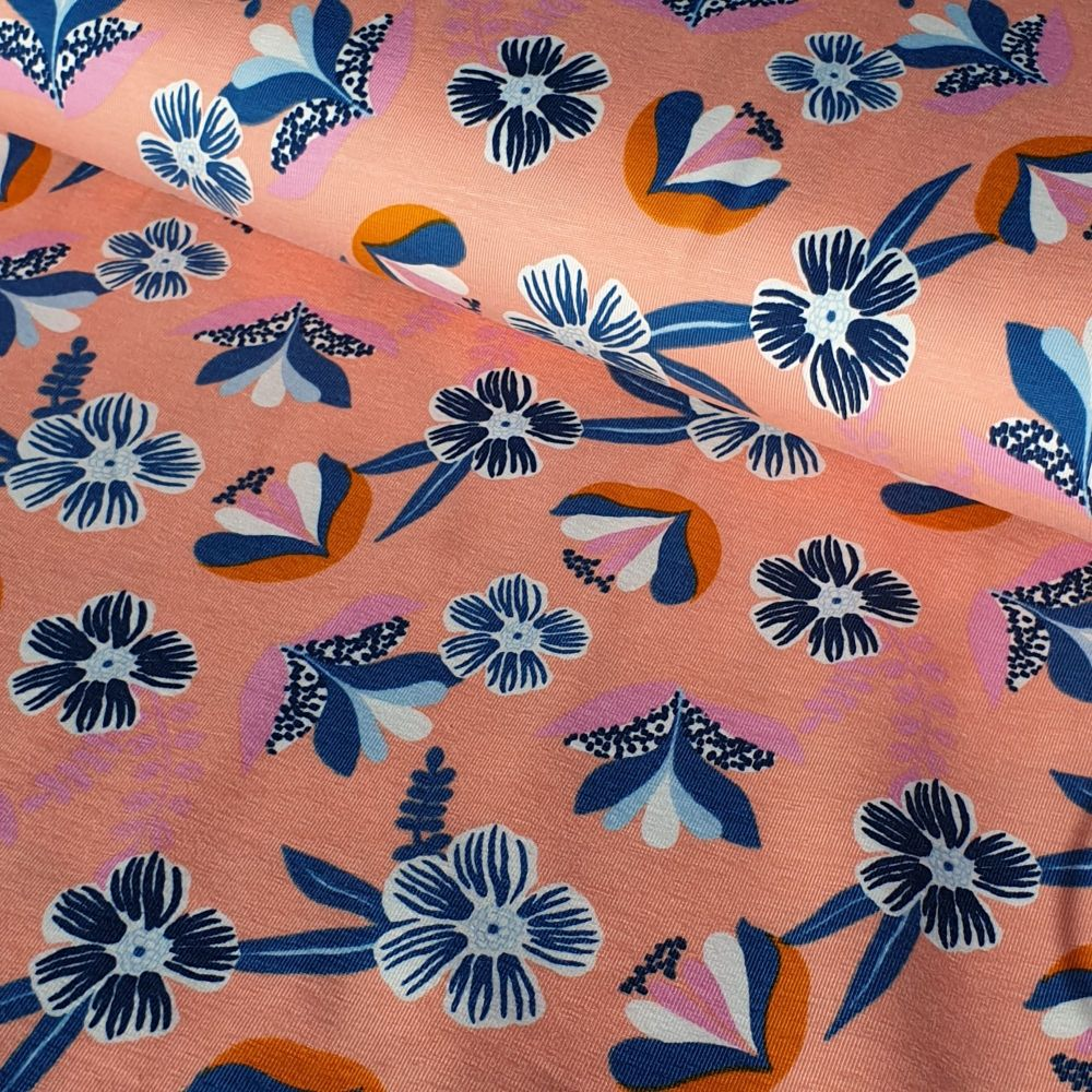 Peach Florals Organic Cotton Jersey Fabric
