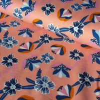 Peach Florals Organic Cotton Jersey Fabric