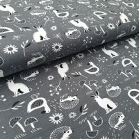 Forest Animals Cotton Jersey Fabric
