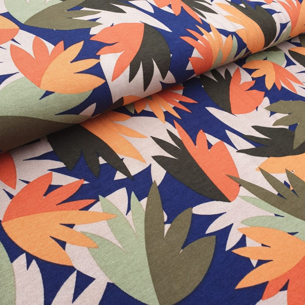 Orange Leaves Viscose Fabric