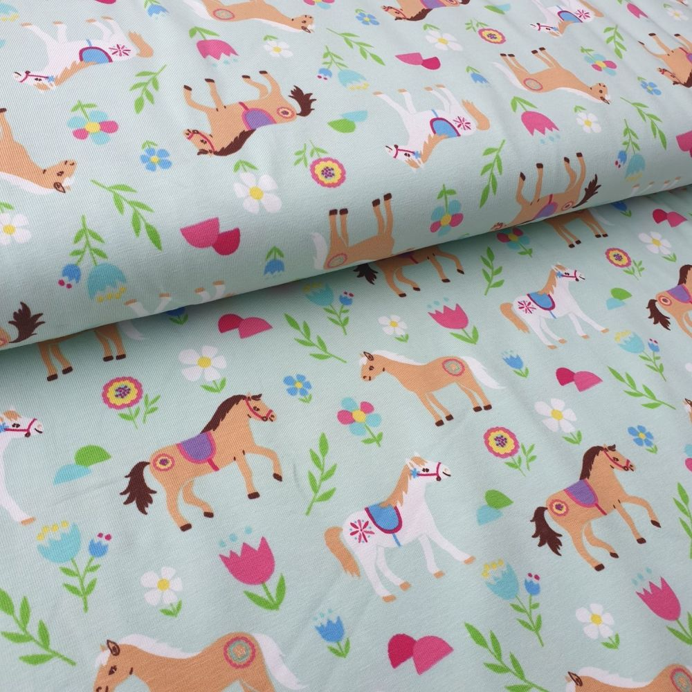 Horses Cotton Jersey Fabric