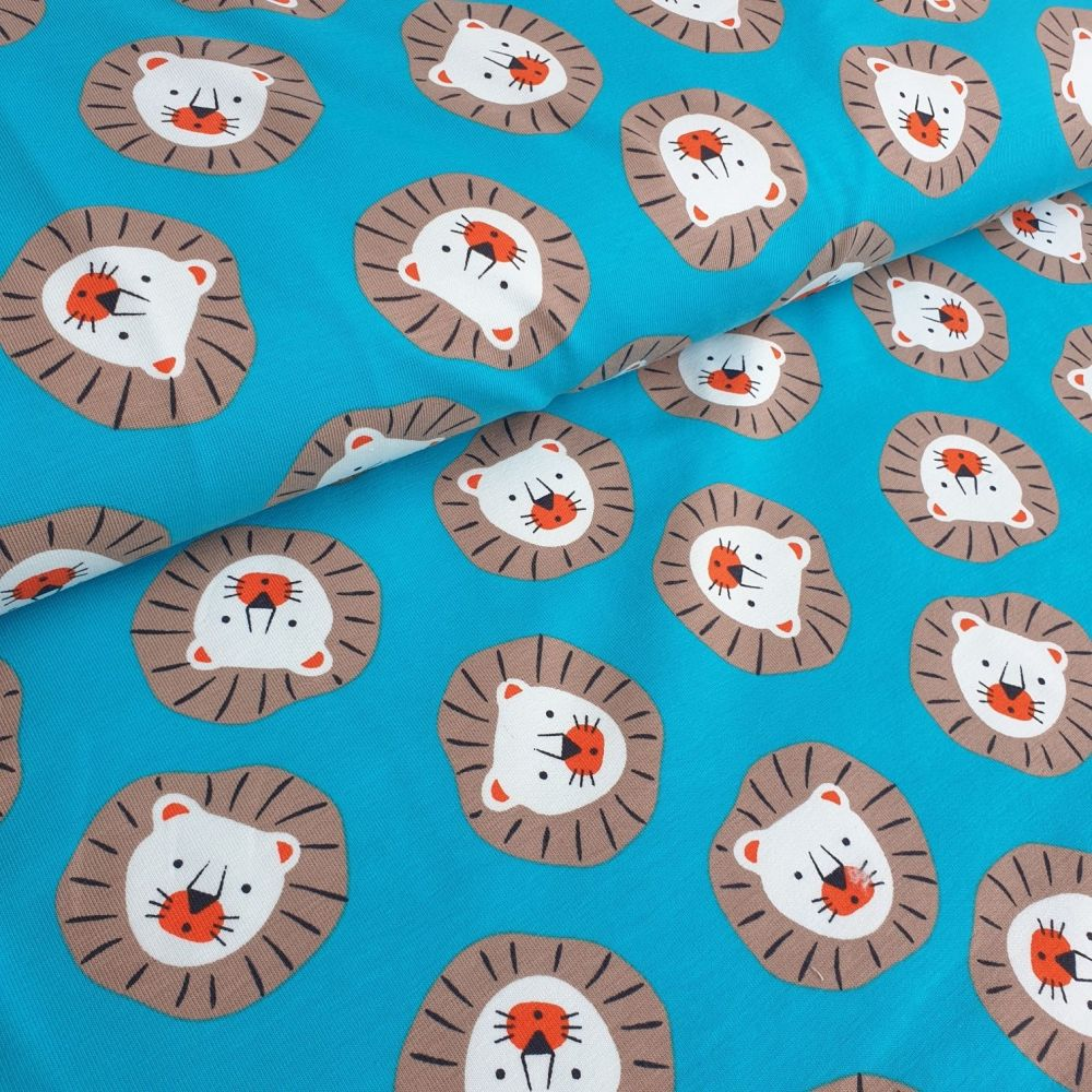 Lion Heads Cotton Jersey Fabric