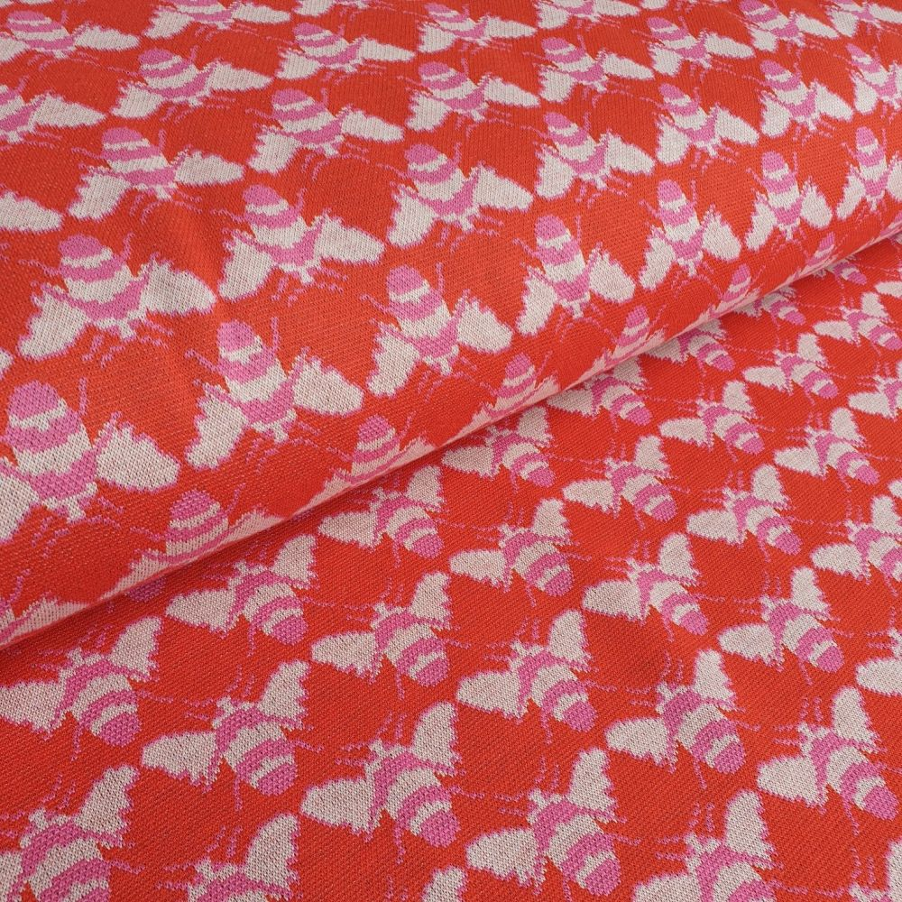 Bees On Red Jacquard Stretch Knit Jersey Fabric