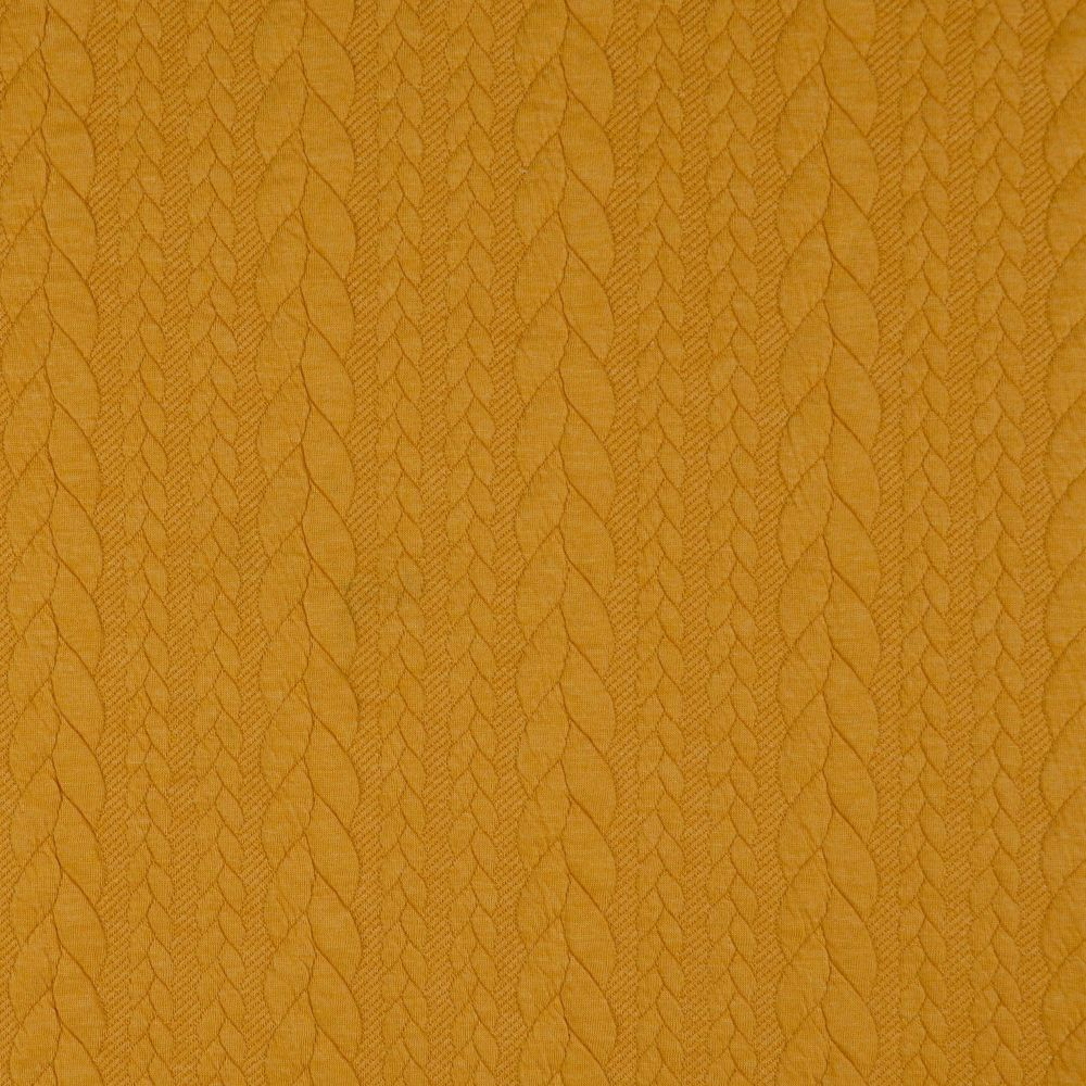 Mustard Jacquard Cable Knit Fabric