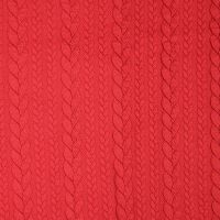Red Jacquard Cable Knit Fabric