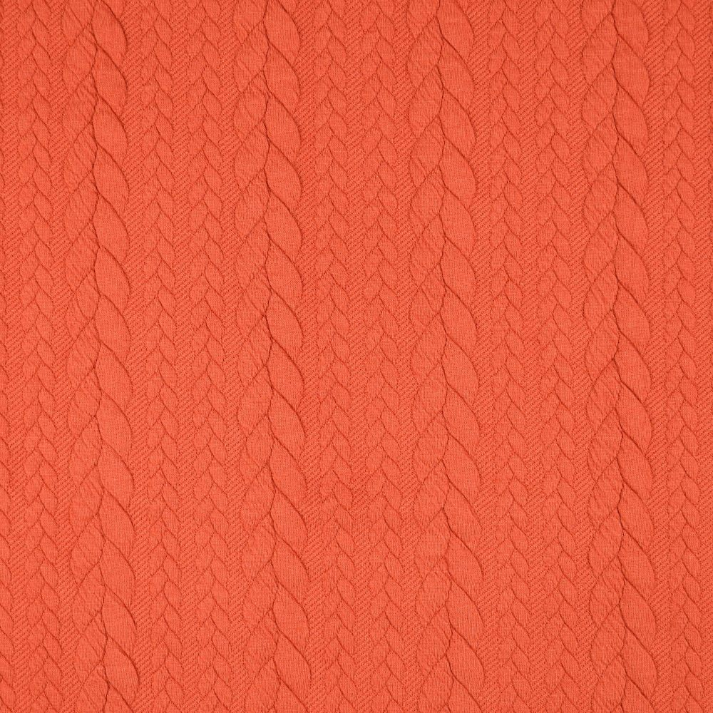 Rust Jacquard Cable Knit Fabric