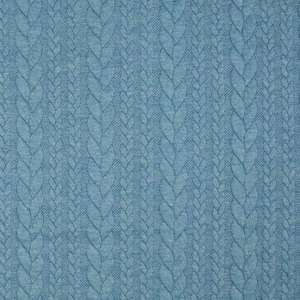 Denim Blue Jacquard Cable Knit Fabric