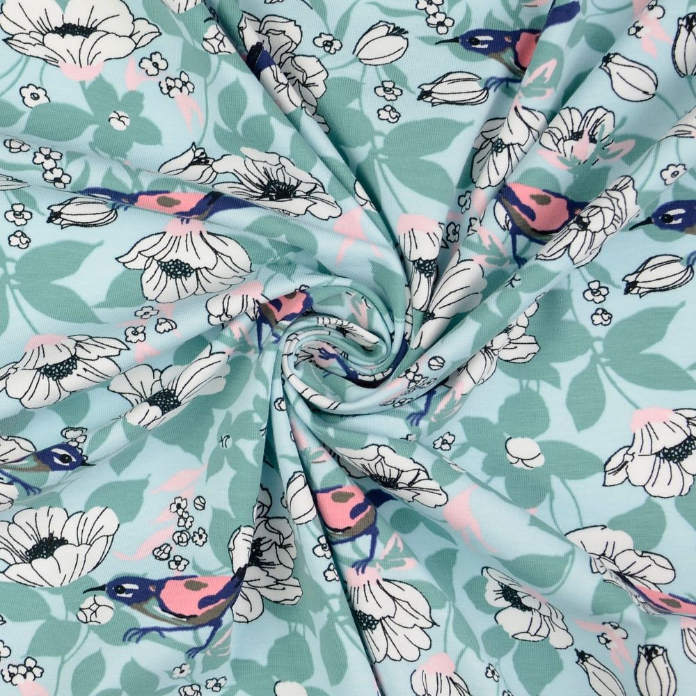 Bird On Blue Cotton Jersey Fabric