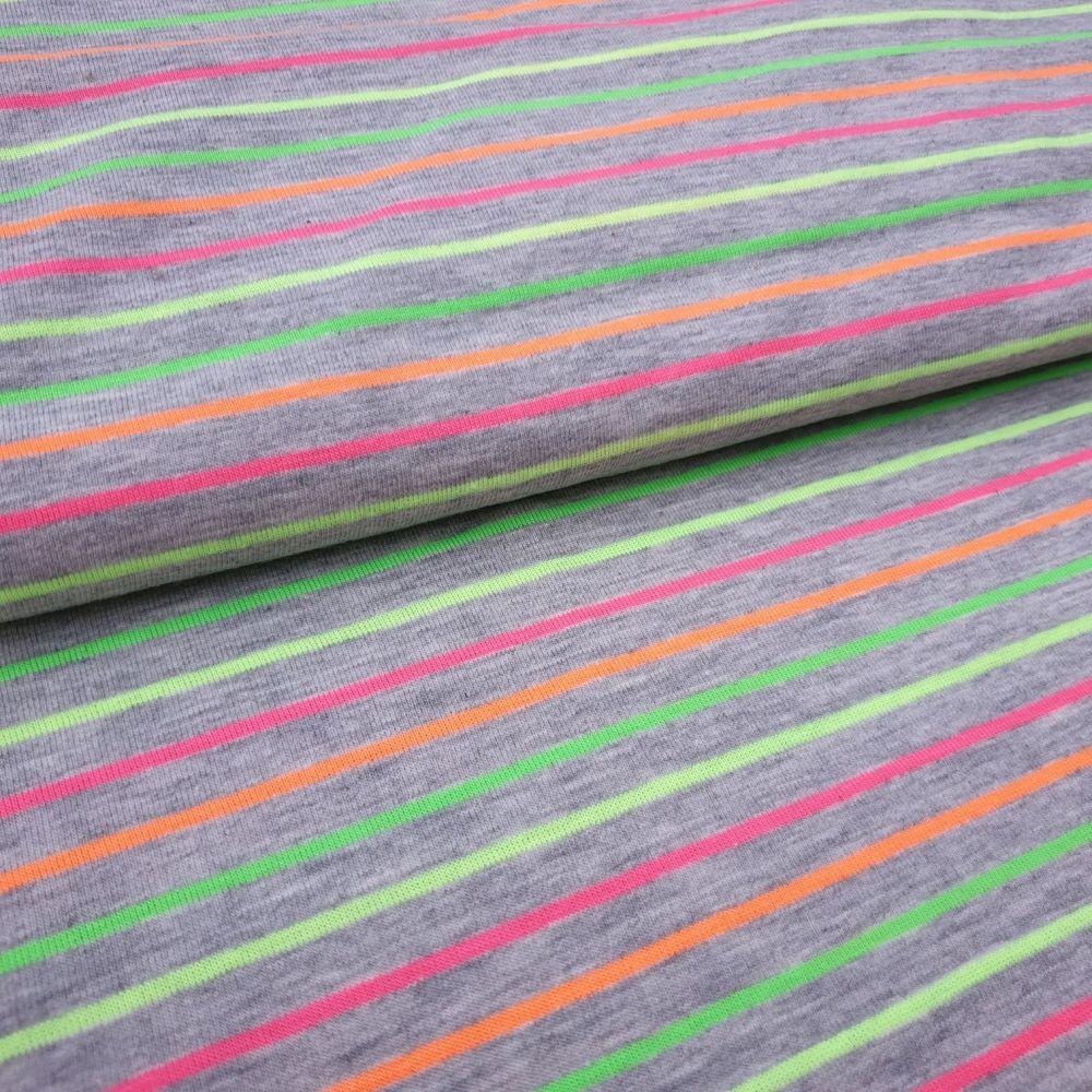 Neon Stripe Cotton Jersey Fabric
