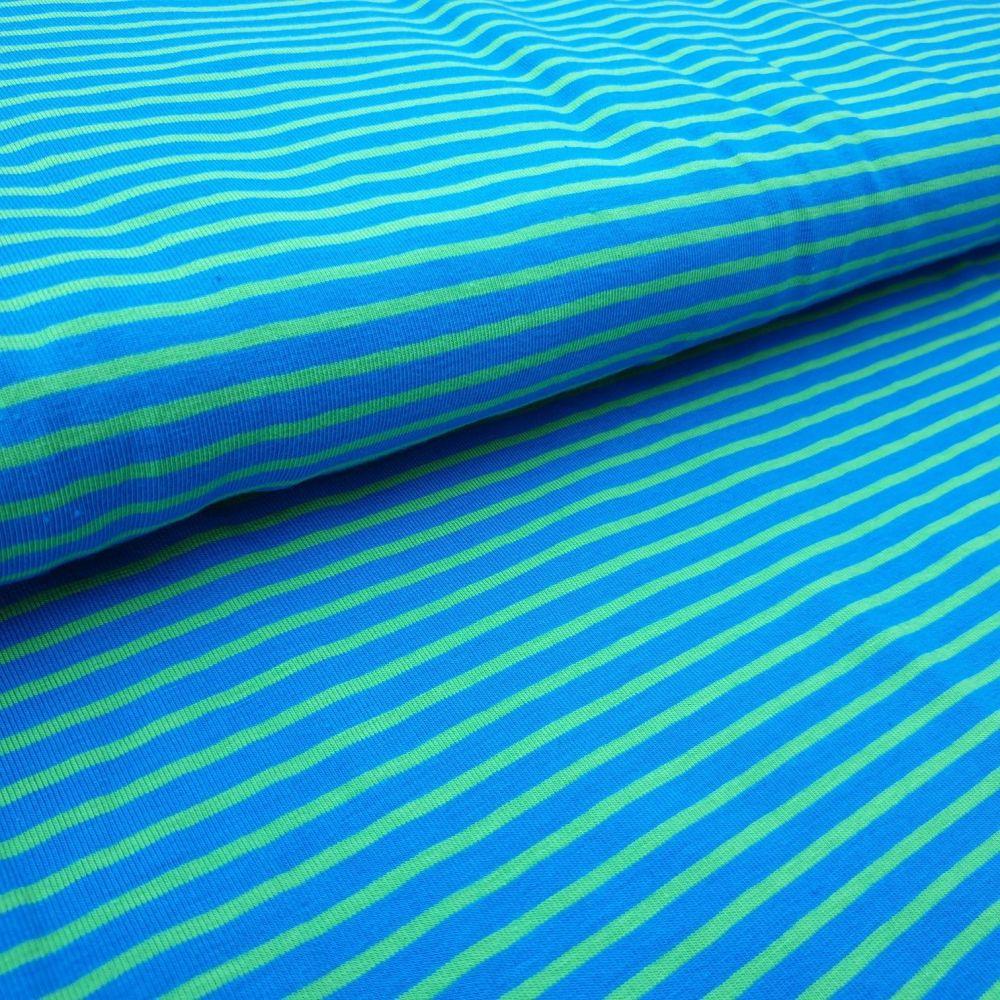Blue Green Stripe Cotton Jersey Fabric