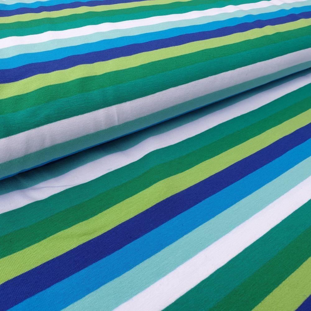 Blues & Greens Stripe Cotton Jersey Fabric