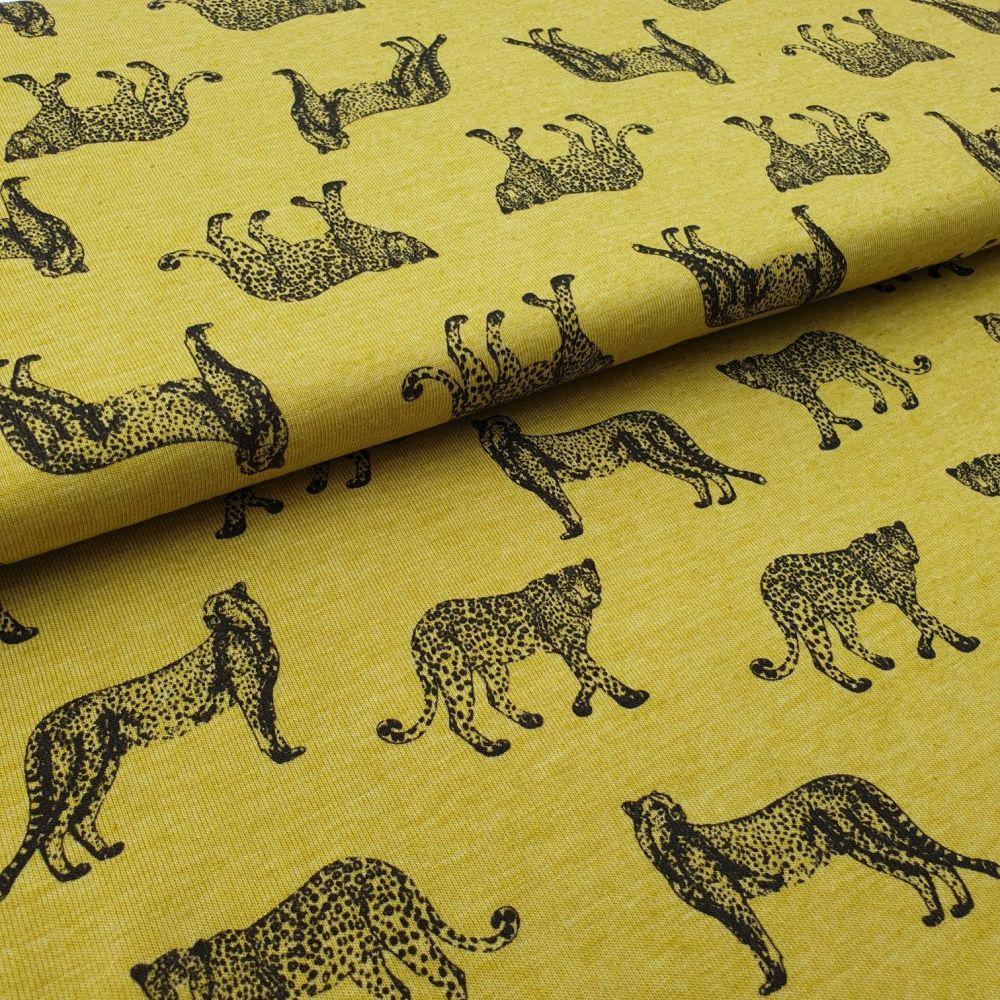 Big Cats Mustard Cotton Jersey