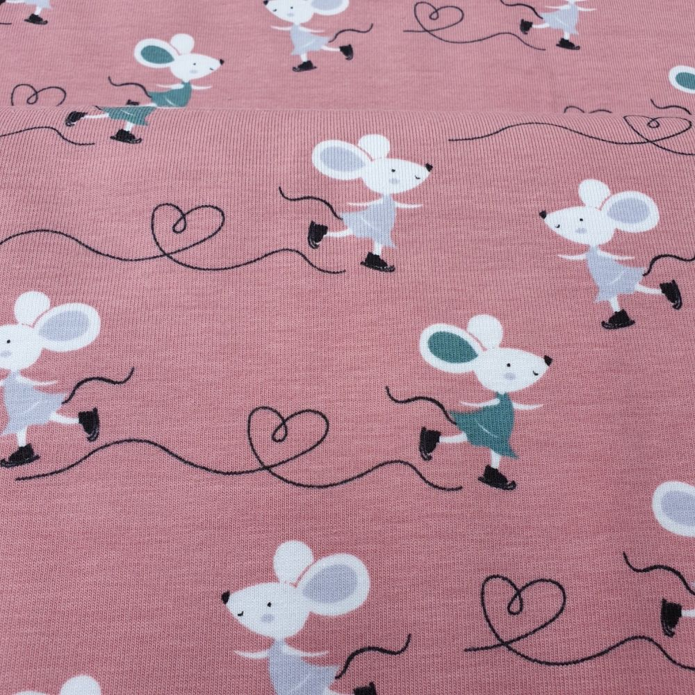 Skating Mouse Cotton Jersey Fabric