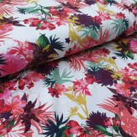Florals on White Cotton Jersey Fabric