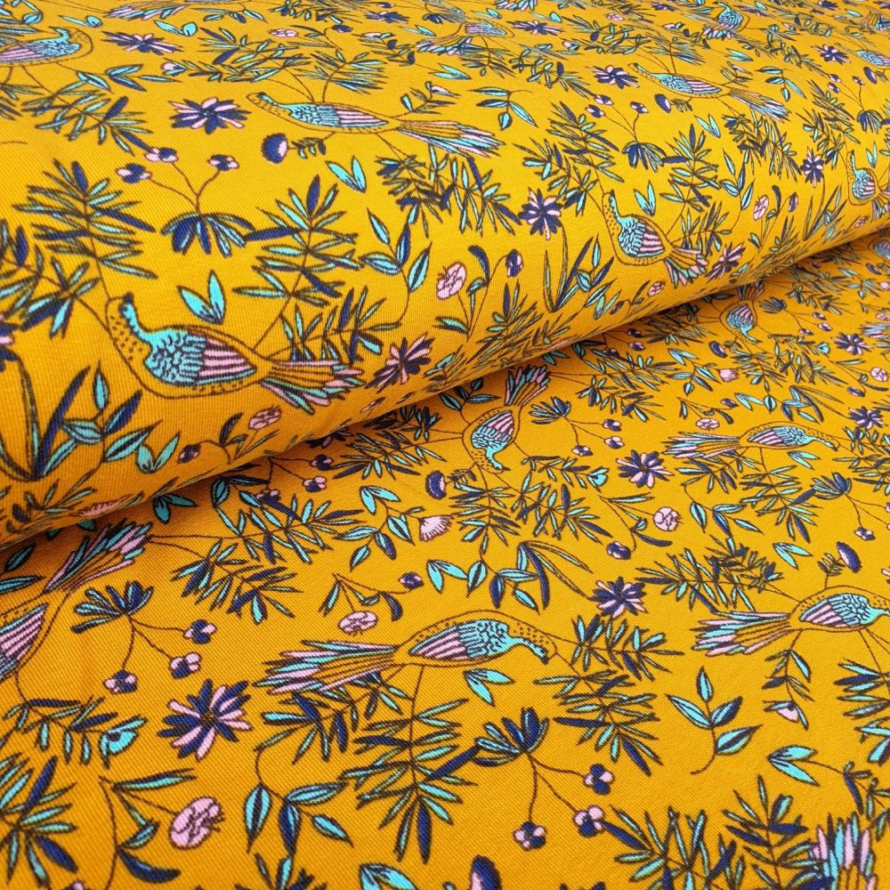 French Terry Birds On Mustard Cotton Jersey Fabric