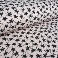 Pink Star Brushed Back Cotton SweatShirt Fabric
